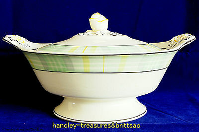 Art Deco Woods Ivory Ware Lidded Vegetable Serving Dish Green Yellow Check 1930s