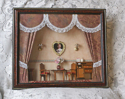 3D Shadow Box Diorama 1930s/40s Style Dining Room 13.25 x 11.5 inches