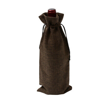 Rustic Wine Bottle Covers Drawstring Jute Burlap Hessian Gift 15*35cm Wedding