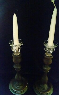 Pair of 1800's Turned  Wooden Candlesticks with Glass Inserts