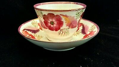 Antique Pink Luster Soft Paste Flowers and Leaves Cup and Saucer