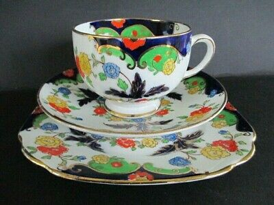 Art Deco / Vintage China Tea Set Trio.Royal Albert Crown China.Bognor.British.