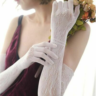 Sexy Lace Opera Gloves Women Openwork Evening Party Sunscreen Driving Gloves