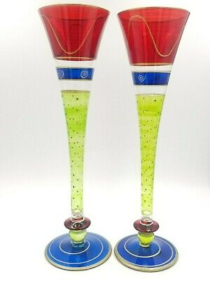 Crystal Ball Trumpet Vase Glass Hand Painted Centerpiece Pilsner Candle Holder