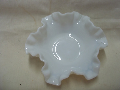 Vintage Fenton Hobnail Ruffled White Milk Glass Dish  Bowl Nuts, Candy