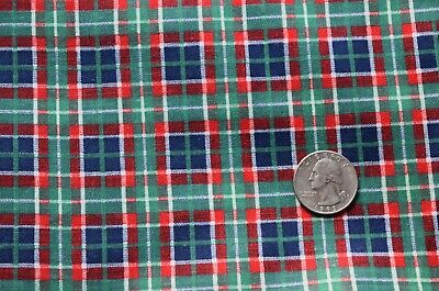 7218 1 yd vintage 1960's cotton fabric, printed blue, green, red plaid