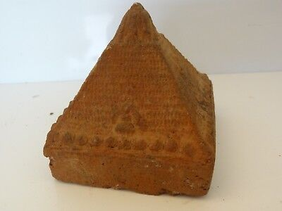 Antique Mongolian Tibetan Buddhist Large  Hand Made  Votive Clay Stupa