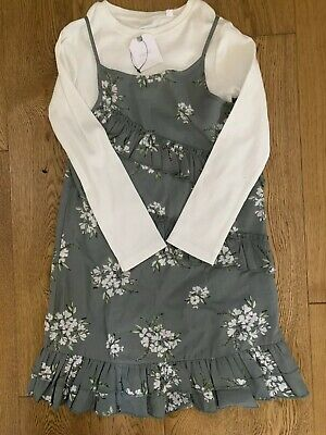 Bnwt Next Younger Girls Dark Grey And White Floral Print Dress Size 5-6 Years