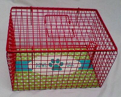 Red Cat Basket Pet Carrier Wire Mesh Plastic Coated Hygienic Manufacturing