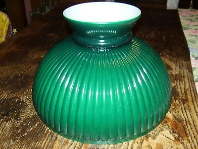 """N301 10"""" Aladdin Green Cased Rib Glass Shade for old antique oil student lamp"""