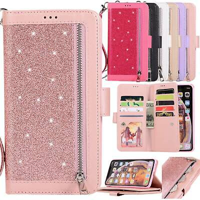 Bling Leather Strap Zip Wallet Card Case Cover For iPhone 6s 7 8 Plus XS MAX XR