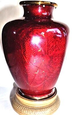 Antique Rare Signed Kumeno Teitaro Red Ginbari Cloisonne Hexagon Vase Perfect