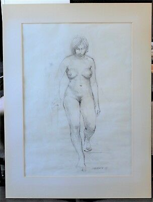 "Large Original Nude Charcoal Drawing Signed ""MacKenzie"" - Circa 1969"