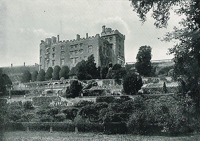 Powys Castle Welshpool 1900 Single Sided Antique Print Picture SASIEAW621