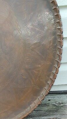 "Large Middle Eastern Persian Qajar Style Copper 29"" diameter,"