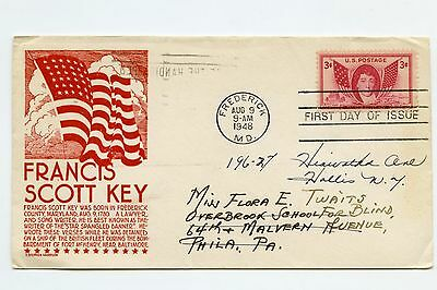 US FIRST DAY COVER Francis Scott Key COVER 1948 SCOTT 962