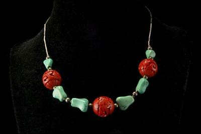 Vintage Chinese Green Turquoise Carved Red Cinnabar Beads Silver Necklace A82-14