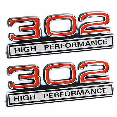 """302 5.0L Engine High Performance Engine Emblems in Red & Chrome - 4"""" Long Pair"""