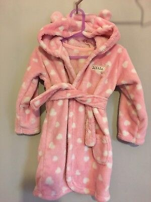Lovely Baby Girls Super Soft Love Heart Dressing Gown Hood With Ears 12-18m🎀