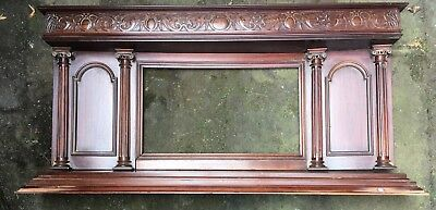 Antique Victorian/Edwardian Mahogany Wooden Over Mantle Mirror