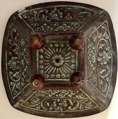 Ornately Decorated American Arts & Crafts Era Hand Hammered Bowl Candy Dish