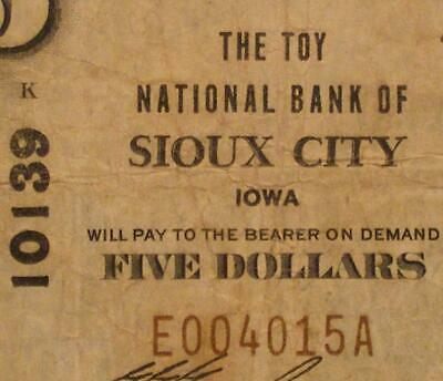 Sioux City, Iowa IA 1929 T1 $5.00 Ch. 10139 The Toy National Bank