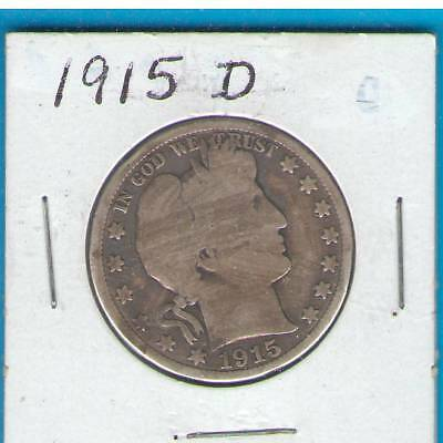 1915-D Barber Half Dollar, Silver,  Circulated