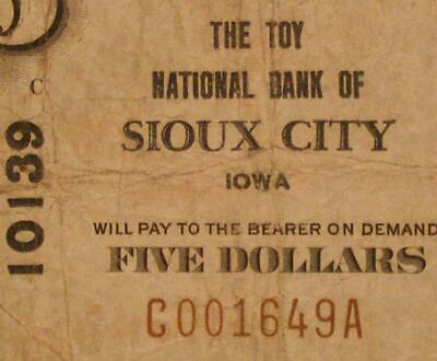 Sioux City, Iowa IA 1929 Type 1 $5.00 Charter 10139 The Toy National Bank