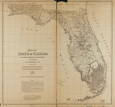 A4 Reprint of American Cities Towns States Map Florida