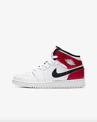 f767dbd2c960f9 AIR JORDAN 1 MID (GS) Boys Grade School White Black-Gym Red 554725 ...