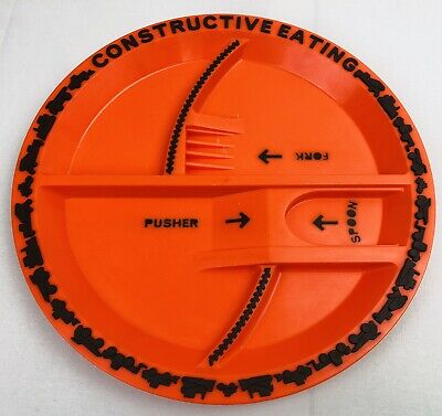 Constructive Eating Construction Plate -Orange with Black Highlights- PBA Free
