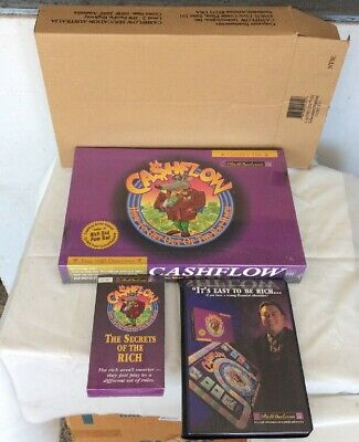 New 2000 Rich Dad Cashflow 101 Board Game Set W/VHS & Cassette Tapes *SEE PICS*