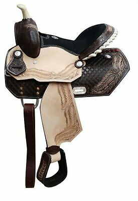 """13"""" Double T Youth Barrel Saddle With Tooled Feather Design Suede Leather Seat!"""