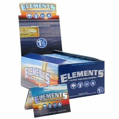 Elements 1.5 Rolling Paper - 6 PACKS - Natural Ultra Thin Rice 1 1/2 Size