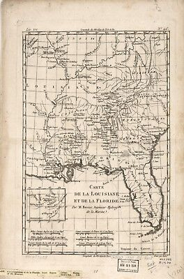 A4 Reprint of American Cities Towns States Map Louisiana Florida
