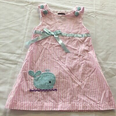 1e0b1484336 Lil Cactus Girls Sz 12-14 Months Dress Pink White Striped Blue Whale And Bow