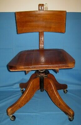 Vtg/Antique SOLID Oak WOOD/Cast Iron Child's Adjustable SWIVEL Desk CHAIR!