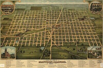 A4 Reprint of Old Maps 1884 Mattoon Illinois Birds Eye View