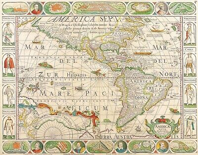A4 Reprint of Old Maps Old Map Americas