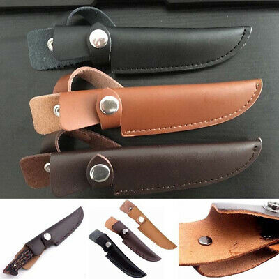 Leather Straight Military Scabbard Case Bag Belt Sheath Cover Fixed Blade Knife