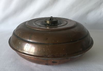 Antique Round UFO Shaped Copper Hot Water Bed Warmer with Metal Screw Cap