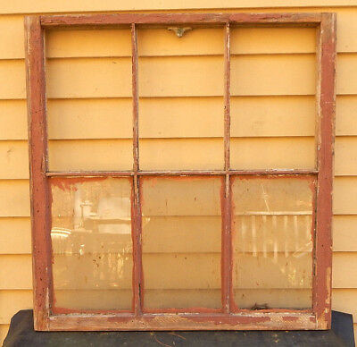 "Architectural Salvage Vintage Rustic 6 Pane 31"" by 32"" Glass Window Sash"