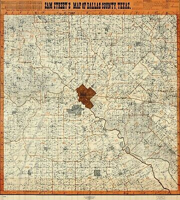 A4 Reprint of Old Maps 1900 Sam Streets Map Dallas County Texas