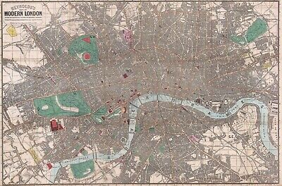A4 Reprint of Old Maps Of London 1862 Reynolds Pocket Map