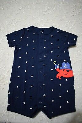 Carter's Baby Boy Shortie Romper Crab Pirate 6 Months *Brand New Without Tags*