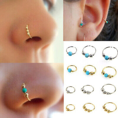 Stainless Steel Nose Ring Turquoise Nostril Hoop Nose Earrings Piercing Gut 4H