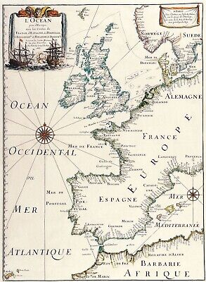 A4 Reprint of Old Map European Great Britain Map