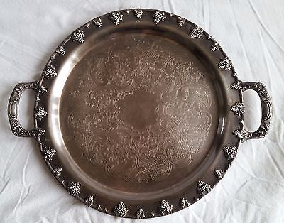 Federal Silver Co.round Serving Tray/Platter W/Handles Grape/Leaf