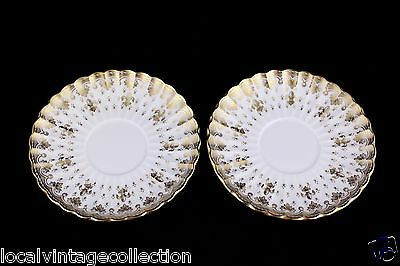 "Spode Fine Bone China England Y8063 ""Fleur De Lys"" Gold Saucers Set Of 2 - Mint"