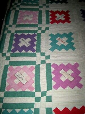 VTG/Antique Friendship Quilt Pink/Green Embroidered Name Hand Sewn/Quilted 84X73